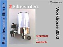 Mobiler / Stationärer Wasserhahn Wasserfilter Wasserfilteranlage für die Küche Montage am Wasserhahn 2 FILTERSTUFEN Anti Chlor