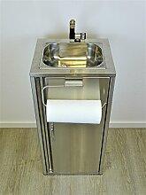 Mobiles Waschbecken komplett aus Edelstahl mit