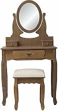 Mobili Rebecca® Frisiertisch Schminktisch Sitzbank Braun Modern 3 Schubladen Retro Schlafzimmer (Cod. RE4935)