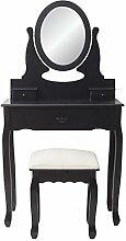 Mobili Rebecca® Schminktisch Frisiertisch Sitzbank Schwarz Modern 3 Schubladen Schlafzimmer Badezimmer (Cod. RE4938)