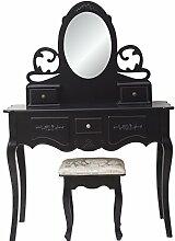 Mobili Rebecca® Schminktisch Frisiertisch Sitzbank Shabby Schwarz 5 Schubladen Schlafzimmer Badezimmer (RE4939)