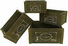 Mobili Rebecca® Set 4 Aufbewahrungsboxen Körbe Holz Braun Aufbewahrung Stil Vintage Küche Garten Badezimmer (Cod. RE4476)