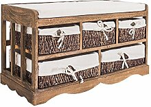 Mobili Rebecca® Sitzbank Aufbewahrung Sitztruhe Holz Kissen Stoff 5 Schubladen Rattankörbe Rustikal Küche Badezimmer Braun (Cod. RE4085)