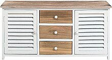 Mobili Rebecca® Sitzbank Flur Schrank Country Holz Weiß 2 Türen 2 Schubladen Braun Weiß (Cod. RE4184)