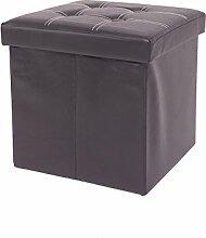 Mobili Rebecca® Sitzbank Sitzhocker Aufbewahrungsbox Kunstleder Schwarz mit gepolsterter Sitzfläche Wohnzimmer Schlafzimmer 38 x 38 x 38 cm (Cod. RE4915)