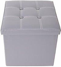 Mobili Rebecca® Sitzbank Sitzhocker mit Aufbewahrungsfunktion Kunstleder Grau mit gepolsterter Sitzfläche Wohnzimmer Kinderzimmer 38 x 38 x 38 cm (Cod. RE4919)