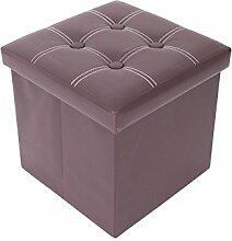 Mobili Rebecca® Sitzbank Sitzhocker mit Aufbewahrungsfunktion Kunstleder Braun mit gepolsterter Sitzfläche Wohnzimmer Schlafzimmer 38 x 38 x 38 cm (Cod. RE4920)
