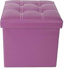 Mobili Rebecca® Sitzbank Sitzhocker mit Stauraum Kunstleder Violett mit gepolsterter Sitzfläche Wohnzimmer Kinderzimmer 38 x 38 x 38 cm (Cod. RE4918)