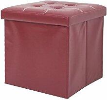 Mobili Rebecca® Sitzbank Sitztruhe mit Aufbewahrungsfunktion Kunstleder Bordeaux mit gepolsterter Sitzfläche Wohnzimmer Flur 38 x 38 x 38 cm (Cod. RE4923)
