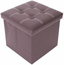 Mobili Rebecca® Sitzwürfel mit Stauraum Aufbewahrungsbox Kunstleder Braun Modern Wohnbereich Schlafzimmer 30 x 30 x 30 cm (Cod. RE4901)