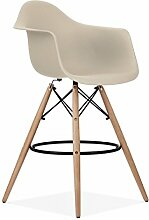 Mobistyl® Barstuhl, Stil DAW, Gestell aus hellem Holz, Sitzfläche aus PP-Kunststoff, 2Stück grau