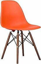 Mobistyl® MOBI-DSWD Set mit 2Stühlen, Design DSW, Füße aus lackiertem Holz, Walnussholz, Sitzfläche PP 2 X Orange