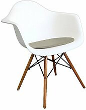Mobistyl® PADA-M-1 1x Premium-Kissen Kunstleder geeignet für Stuhl im Stil von Eiffel grau