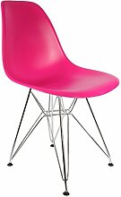 Mobistyl® Stuhl, Design: Inspiration Eiffel, DSR, Füße aus Edelstahl, Sitzfläche PP, 2 Stück 2 x Fuchsia