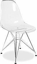 Mobistyl® Stuhl, Design: Inspiration Eiffel, DSR, Füße aus Edelstahl, Sitzfläche PP, 2 Stück durchsichtig