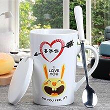 mocer Creative Keramik minimalistisch Paar Partybecher Becher Tasse Milch Becher Personalisierte Kaffee Becher mit Löffel Spoon Stainless Steel Rabbitlid