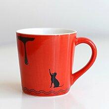 MOCER Keramik Tasse Kaffee Tasse Milch Cup Cartoon tasse Schale Mini Cup Eis Becher, rote Katze
