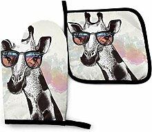 Mode Giraffe Blue Fire Wolf Küchenofen Handschuhe
