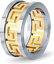 Mode Herren Titan Stahl Ring Tricolor Fenster Hohl Edelstahl Ringe Schmuck Zubehör , Gold , 10