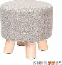 Mode Hocker Massivholz Hocker für Kreative ändern Schuh Schemel fabric sofa Hocker Sitzbank Hocker einfach Schuhe square Schemel, 29 * 28 cm, rund Farbe