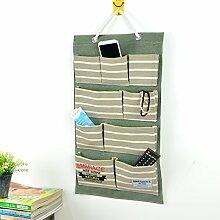 Mode Leinen Baumwolle Aus stoff Wand tür Schrank Hängen Aufbewahrung taschen veranstalter 9 taschen,Zeitungshalter für die wand Zeitungsständer für haus tür-D 59x36cm(23x14inch)