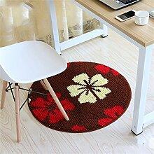 Mode runden Teppich Schlafzimmer Wohnzimmer Bedside Korb Decke Studie Computer Stuhl Drehstuhl Stuhl Teppich rutschfeste Fuß Pad Yoga Matten ( größe : Diameter 90cm )