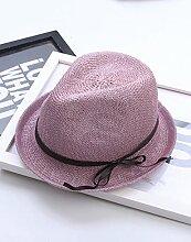 Mode Sonnenhut Frühlings- und Sommer-Tide-Sektion Flache Traufe Kleine Hut-Schatten Jazz-Bowknot-Hut Sonnenschutz-Sonnenhut Gute Qualität A +++ ( Farbe : 3 )