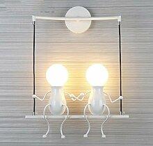Mode Wandleuchte, Kreative Einfachen Stil Design Leuchte Beleuchtung Innen Dekorative Lampe Anwendung Wandleuchte, Für Kinderzimmer Schlafzimmer Flur Wandleuchte E27. (Farbe : Weiß)