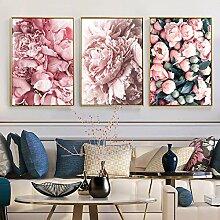 Modeplakat Rose Blume Feder nordischen Stil