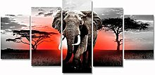 Modern Afrika Grasland Elephant Canvas Art Wand