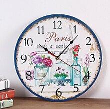 Modern/antik Diy kreative Dekoration Wohnzimmer Studie European Fashion stummgeschaltet Wood-Plastic Platte Uhr , 4.