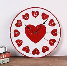 Modern/antik Diy kreative Dekoration Wohnzimmer Studie European Fashion stummgeschaltet Wood-Plastic Platte Uhr , 3.