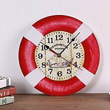 Modern/antik Diy kreative Dekoration Wohnzimmer Studie European Fashion stummgeschaltet Wood-Plastic Platte Uhr , 2.