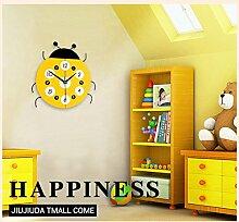 Modern/antik Harz Cartoon Creative Wohnzimmer Schlafzimmer Kinderzimmer, wenn die Stummschaltung aktiviert ist, dekorative Uhr , Gelb