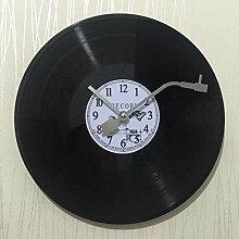 Modern/antik Vintage Vinyl Records in Europa und Amerika und kreative LP-Album Uhren Ktv Salon Studie dekorative Wanduhr , 1.