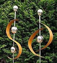 Modern Art 2er Set Gartenstecker Edelrost m.