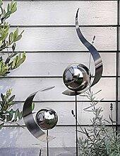 Modern Art 2er Set Gartenstecker Edelstahl Tropfen
