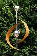 Modern Art Gartenstecker Edelrost Edelstahl Kugel
