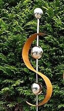 Modern Art Gartenstecker Edelrost m. Edelstahl Kugel Metall Gartendeko Beetstecker 1