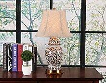 Modern Chinesisch - Stil Voll - Kupfer Keramik Lampe Kreativ Gemalt Dekorativ Wohnzimmer Studie Schlafzimmer Schlafzimmer Nachttischlampe