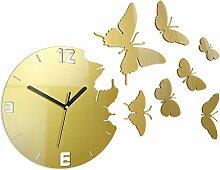 Modern Clock Butterfly Gold Wanduhr, Acryl, gold, 30 x 54 cm