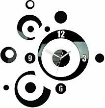 Modern Clock Planet Black Wanduhr, Acryl, schwarz,