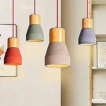 Modern Creative Eisen Holz Pendelleuchte LED E27