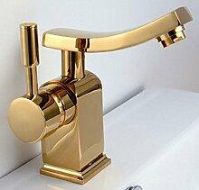 Modern Design Einhebel Badezimmer Bad Armatur Waschbecken Gold Schwenkbar
