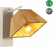 Modern Design Wandleuchte Holz Lampenschirm Weiß