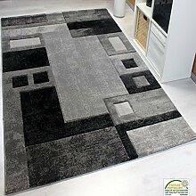 Modern Designer Teppich, Kariert und Meliert,Sehr Dicht Gewebt - ÖKO TEX Zertifiziert, Farbe Grau, VIMODA; Maße: 80x150 cm