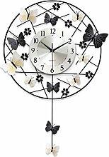 Modern Einfach Runden Schmetterling Wanduhr Quarzuhr Dekoration Wanduhr Schlafzimmer Stummschalten Hängetisch Handwerk Mit Pendel