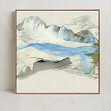 Modern Gestreckt und Eingerahmt Öl Gemälde auf