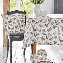 Modern interpretierte Hühner-Tischdecke