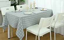 Modern Minimalistisch Kariert Rechteckig Baumwolle Haushalt Tischdecke Café,Blue2-51.1in*70.8in